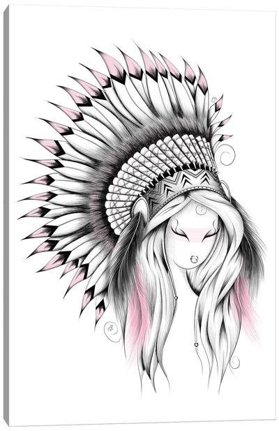 Indian Headdress In Pink Canvas Art Print