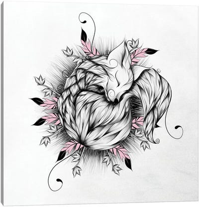 Little Fox In Pink Canvas Art Print
