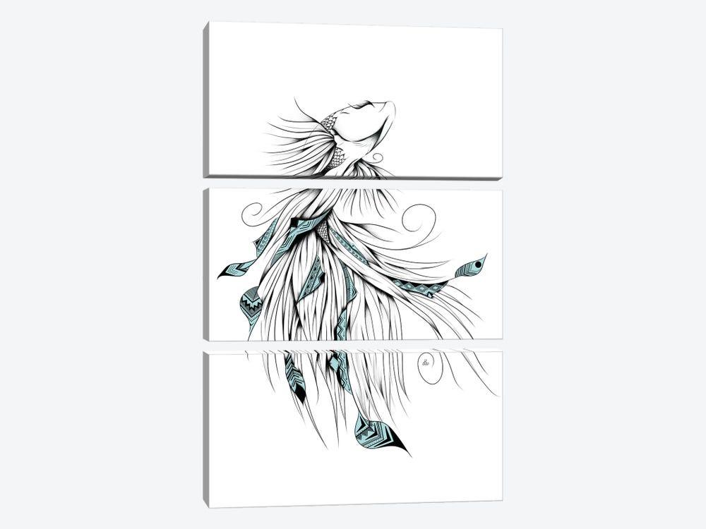 Poetic Betta Fish by LouJah 3-piece Canvas Art Print