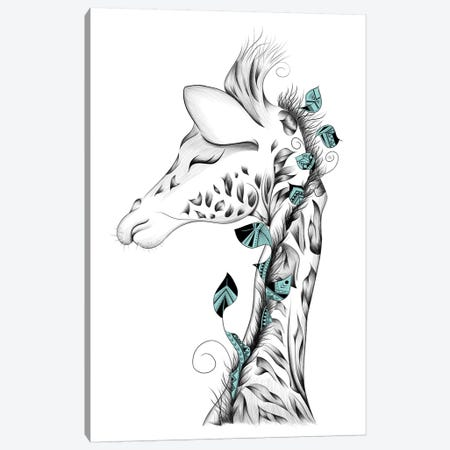 Poetic Giraffe Canvas Print #LUJ5} by LouJah Art Print