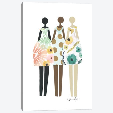 Diverse Fashion Dolls In Pastel Canvas Print #LUL15} by LouLouArtStudio Art Print