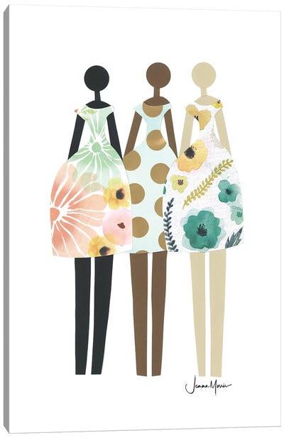 Diverse Fashion Dolls In Pastel Canvas Art Print