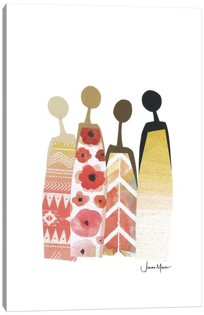 Diverse Friends In Yellow & Red Canvas Art Print