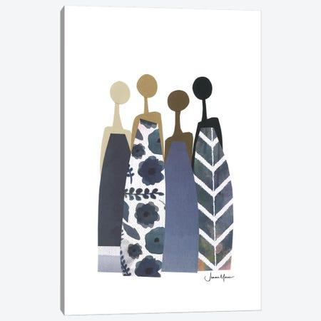 Diverse Women In Blue Dresses Canvas Print #LUL17} by LouLouArtStudio Canvas Print
