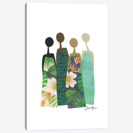 Diverse Women In Tropical Dress Canvas Print #LUL18} by LouLouArtStudio Canvas Wall Art