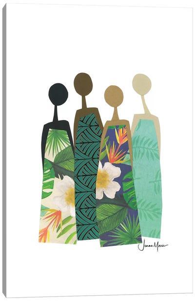 Diverse Women In Tropical Dress Canvas Art Print