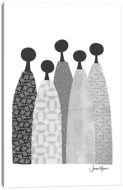 Five Wise Women In Black & White Canvas Art Print