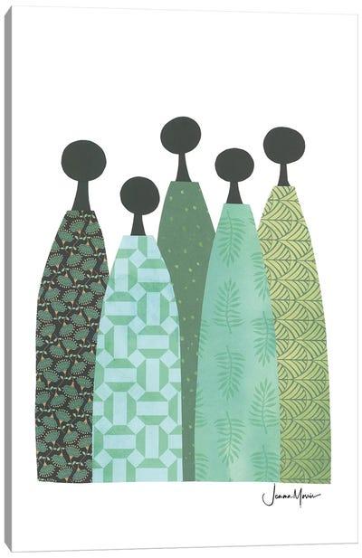 Five Wise Women In Green Canvas Art Print