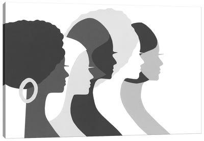 Five Women Profile In Black & White Canvas Art Print