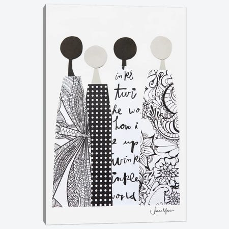 Four Multicultural Women In Black & White Canvas Print #LUL22} by LouLouArtStudio Canvas Art Print