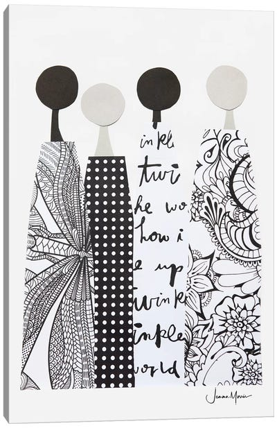 Four Multicultural Women In Black & White Canvas Art Print