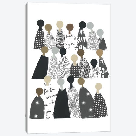 Group Of People Of Color In Black & White Canvas Print #LUL27} by LouLouArtStudio Canvas Wall Art
