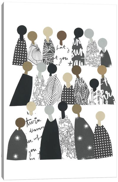 Group Of People Of Color In Black & White Canvas Art Print