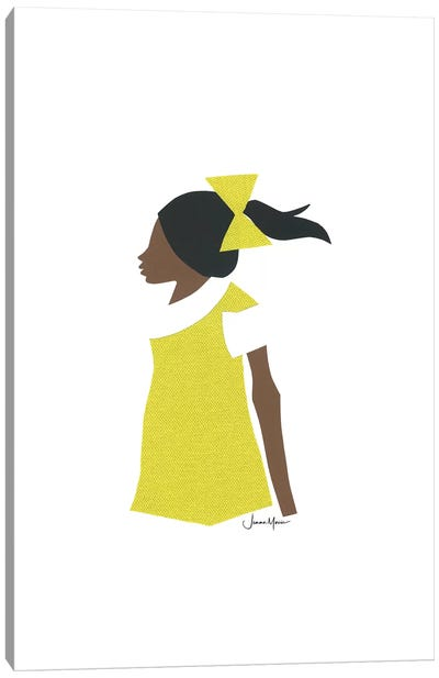 African American School Girl Canvas Art Print