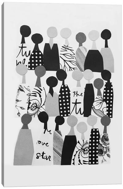 Multicultural Crowd In Black & White Canvas Art Print
