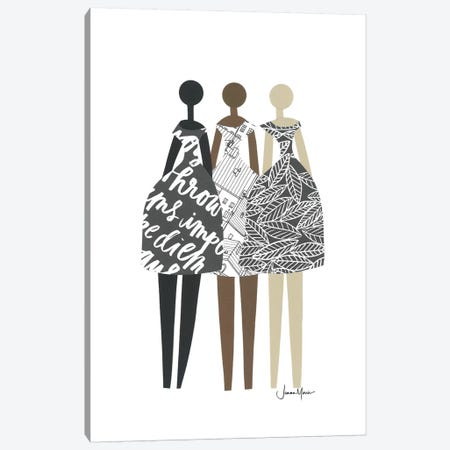 Multicultural Fashion Dolls In Black & White Canvas Print #LUL33} by LouLouArtStudio Canvas Art