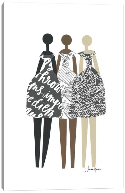 Multicultural Fashion Dolls In Black & White Canvas Art Print