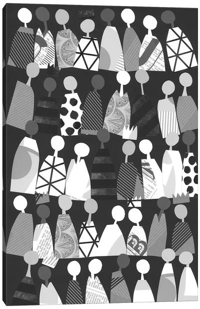 Multicultural Unity In Black & White Canvas Art Print