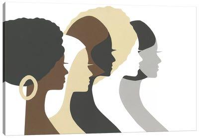 Multicultural Women Profile Canvas Art Print