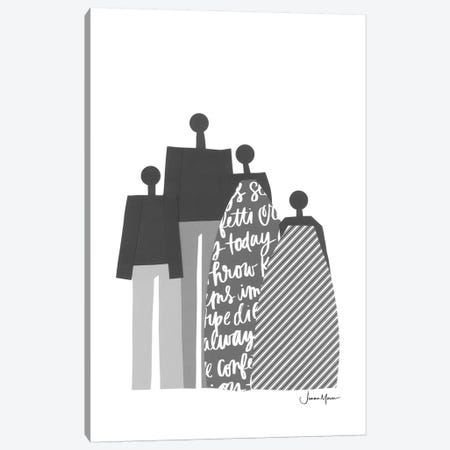 African Family Portrait In Black & White Canvas Print #LUL3} by LouLouArtStudio Canvas Artwork