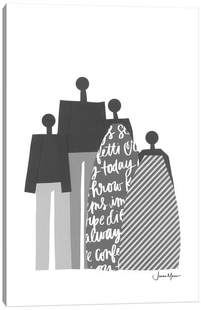 African Family Portrait In Black & White Canvas Art Print