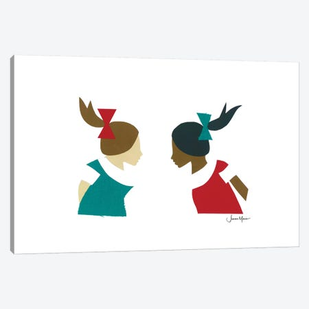 Two School Girls Canvas Print #LUL62} by LouLouArtStudio Canvas Print