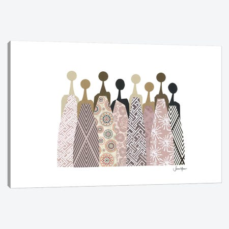 Women Of Color In Neutral Dresses Canvas Print #LUL63} by LouLouArtStudio Art Print