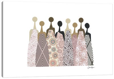 Women Of Color In Neutral Dresses Canvas Art Print