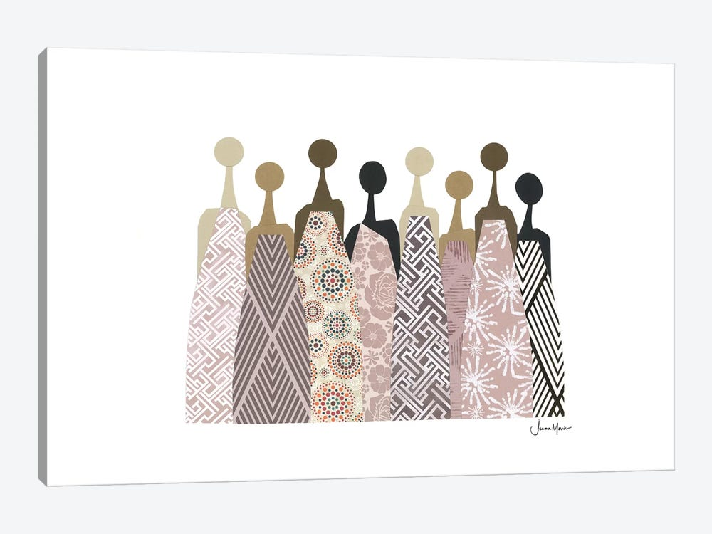 Women Of Color In Neutral Dresses by LouLouArtStudio 1-piece Canvas Art Print