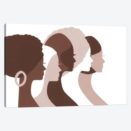 Women Of Color Profiles In Brown Canvas Print #LUL64} by LouLouArtStudio Canvas Wall Art