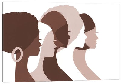 Women Of Color Profiles In Brown Canvas Art Print