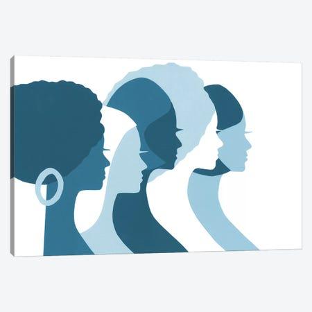 Women Profile In Blue Canvas Print #LUL65} by LouLouArtStudio Canvas Artwork
