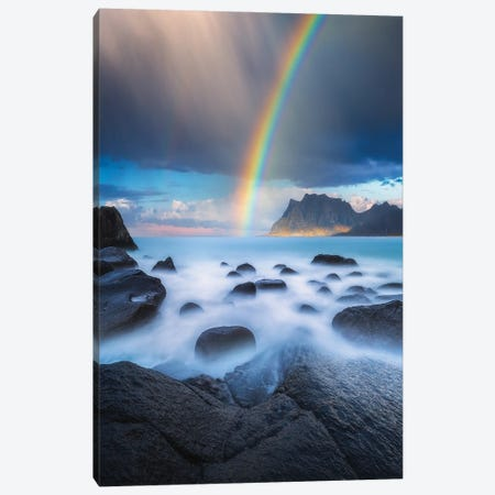 Uttakleiv Rainbow Canvas Print #LUR130} by Lauri Lohi Canvas Wall Art