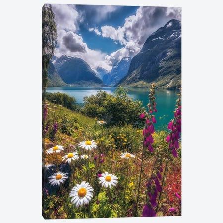 Summerday At Lovatnet Canvas Print #LUR90} by Lauri Lohi Canvas Art