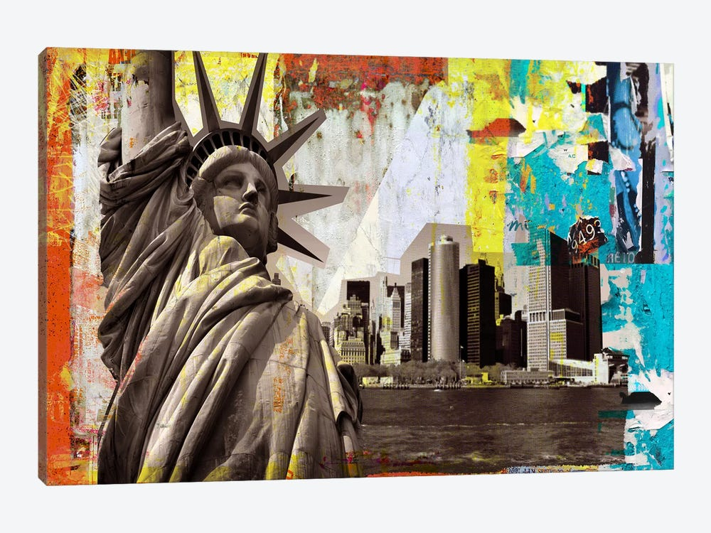Art Frame Source 16008 Luz I Framed Art: Statue Of Liberty Canvas Art By Luz Graphics