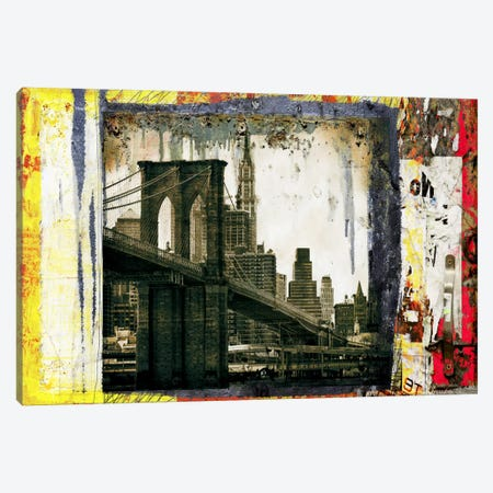 Pont Brooklyn Pancarte (Brooklyn Bridge) Canvas Print #LUZ21} by Luz Graphics Canvas Art Print