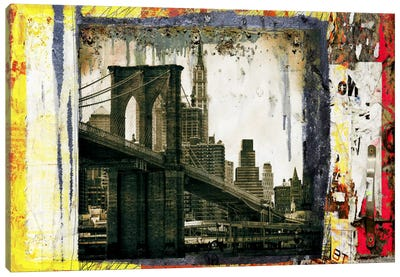 Pont Brooklyn Pancarte (Brooklyn Bridge) by Luz Graphics Canvas Art Print