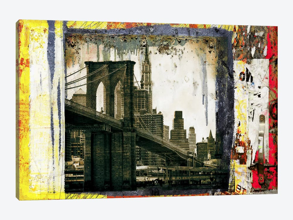Pont Brooklyn Pancarte (Brooklyn Bridge) by Luz Graphics 1-piece Canvas Wall Art