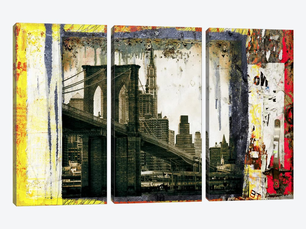 Pont Brooklyn Pancarte (Brooklyn Bridge) by Luz Graphics 3-piece Canvas Artwork