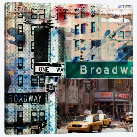 One Way Broadway Canvas Print #LUZ27} by Luz Graphics Canvas Artwork