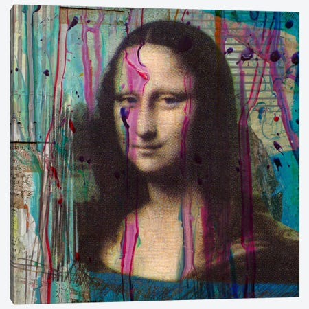 Mona Lisa Dripping Canvas Print #LUZ31} by Luz Graphics Canvas Art