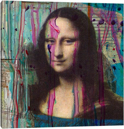 Mona Lisa Dripping Canvas Print #LUZ31