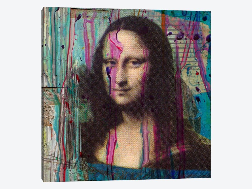 Mona Lisa Dripping 1-piece Canvas Print