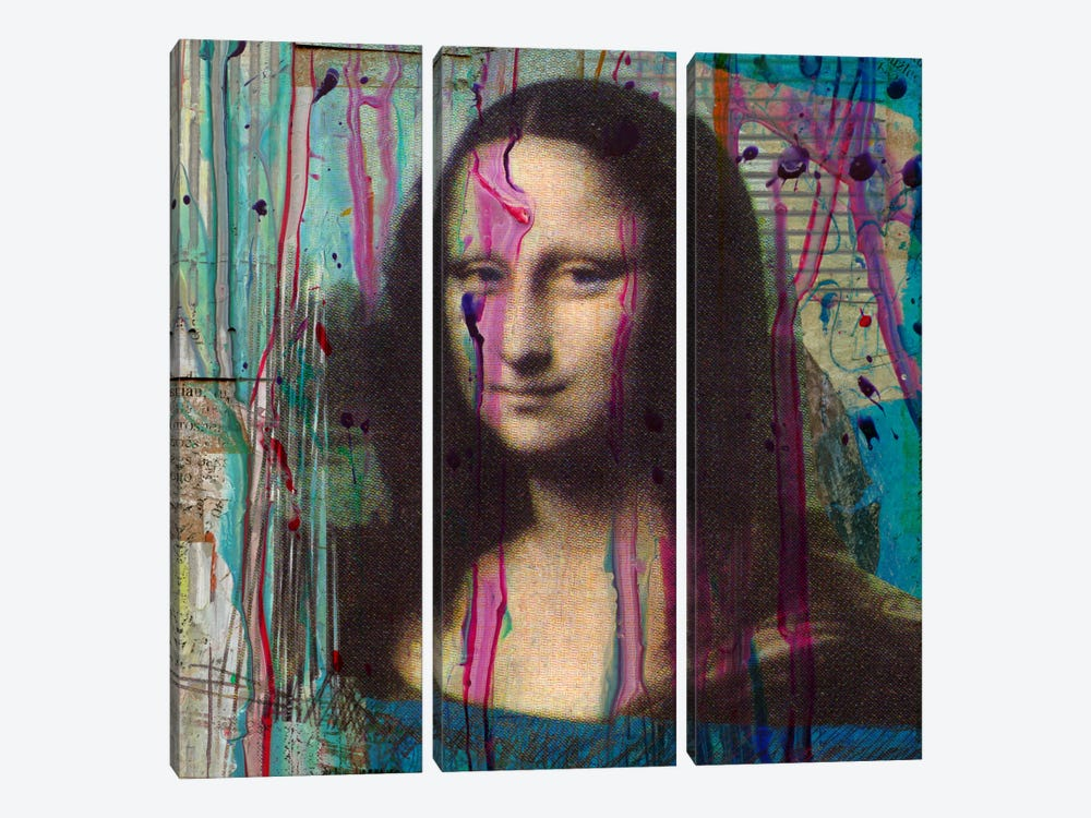 Mona Lisa Dripping 3-piece Canvas Art Print