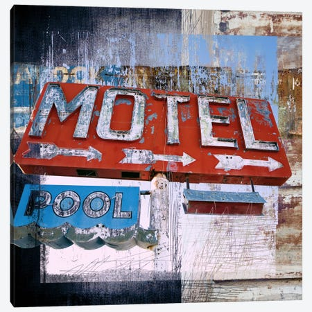 Motel Pool Canvas Print #LUZ32} by Luz Graphics Canvas Art