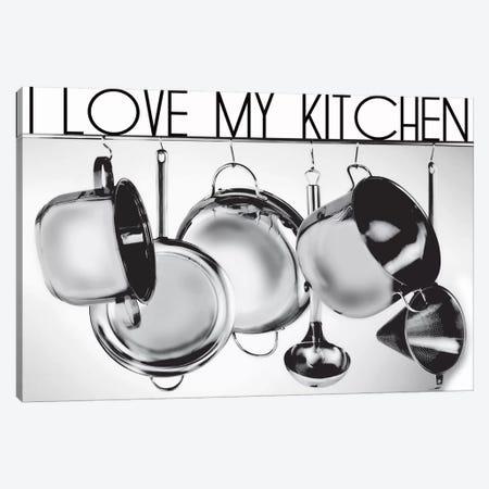 I Love My Kitchen Canvas Print #LUZ50} by Luz Graphics Canvas Wall Art