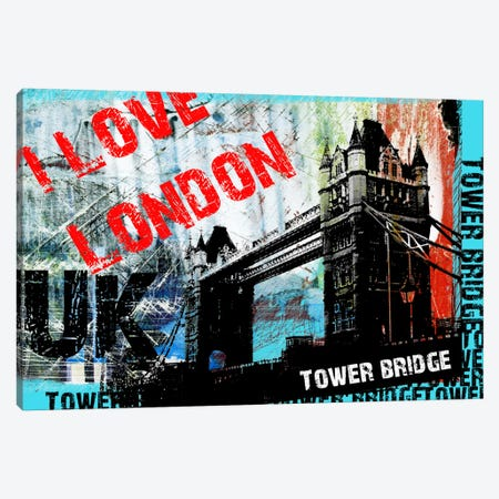 I Love London Canvas Print #LUZ51} by Luz Graphics Canvas Wall Art