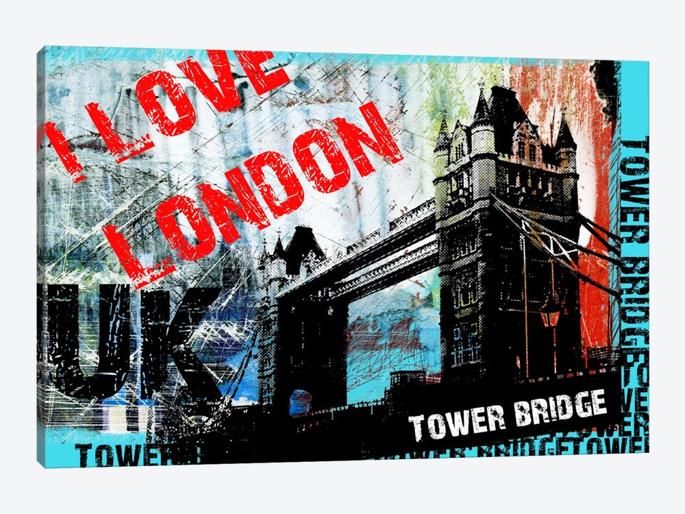 I Love London by Luz Graphics 1-piece Art Print
