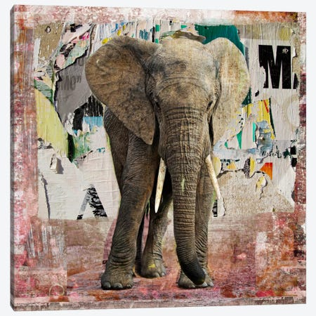 Elephant Torn Posters Canvas Print #LUZ56} by Luz Graphics Canvas Art Print