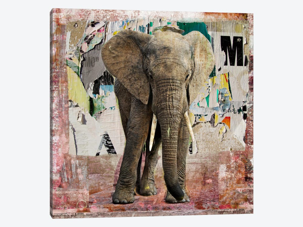 Elephant Torn Posters by Luz Graphics 1-piece Canvas Wall Art